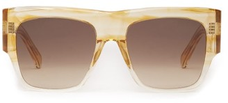 Celine Flat Top Acetate Sunglasses - Womens - Beige Multi