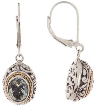 Phillip Gavriel 18K Yellow Gold & Sterling Silver Rhodium Finish Drop Green Amethyst Byzantine Drop Earrings