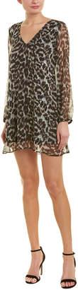 Lavender Brown Leopard Silk Shift Dress