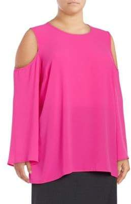 Vince Camuto Plus Crepe Cold-Shoulder Blouse