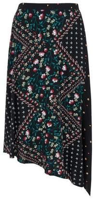 Evans Black Floral Print Asymmetric Skirt