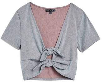 Topshop Metallic Knot Crop Top