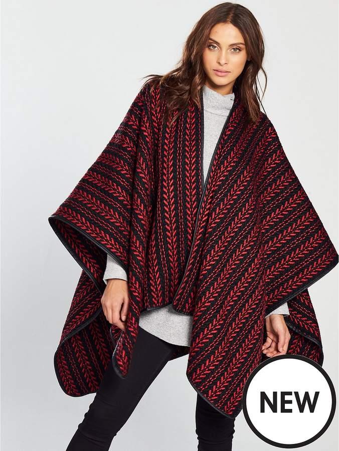 Nina Textured Knit Cape - Red/Black