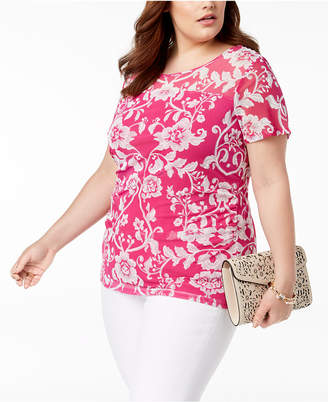 INC International Concepts I.N.C. Plus Size Side-Ruched Print Top, Created for Macy's