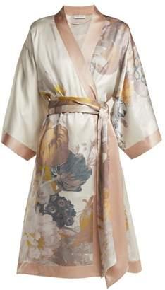 Carine Gilson Floral Print Silk Robe - Womens - Pink Print