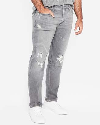 Express Slim Gray Destroyed Stretch+ Jeans