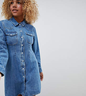 Asos DESIGN Petite denim fitted western shirt dress with seam detail
