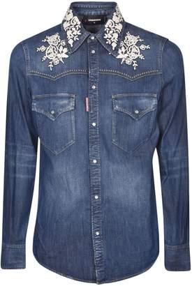 DSQUARED2 Lace Applique Denim Shirt