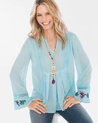 Long-Sleeve Floral-Embroidered Top