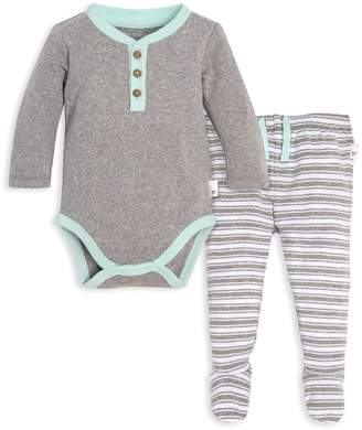 b51f0dcf7 Burt's Bees Henley Organic Baby Long Sleeve Bodysuit & Micro Stripe Footed  ...