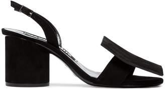 Jacquemus black Les Rond Carré 60 suede sandals