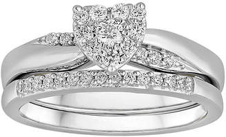 MODERN BRIDE I Said Yes 1/3 CT. T.W. Diamond Heart-Shaped Platinaire Bridal Ring Set