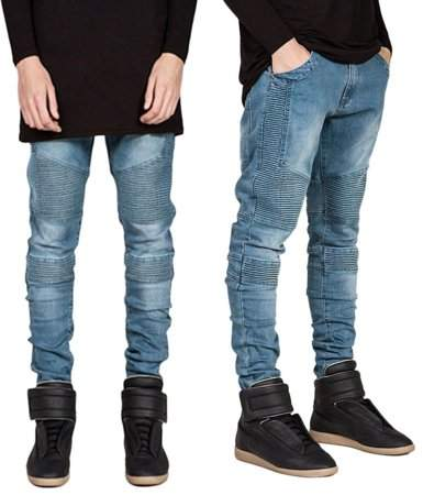 Generic 2017 OUTAD Trendy Designed Straight Slim Fit Jeans Pant Denim Trousers Elastic Jeans Blue Size of 30