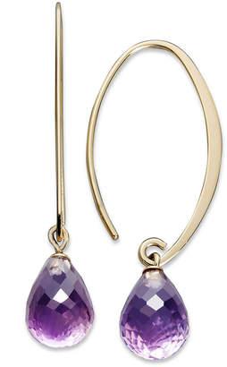 Macy's 14k Gold Earrings, Amethyst Brio Long Hoop (6-1/2 ct. t.w.)