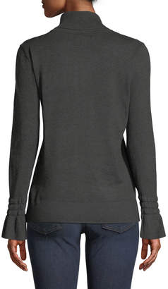 Neiman Marcus Flare-Sleeve Ribbed Turtleneck Sweater