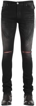 16cm Skinny Washed Broken Denim Jeans