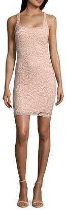 My Michelle Sleeveless Scroll Bodycon Dress-Juniors