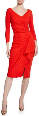Chiara Boni Kloty V-Neck 3/4-Sleeve Dress with Asymmetric Side Drape