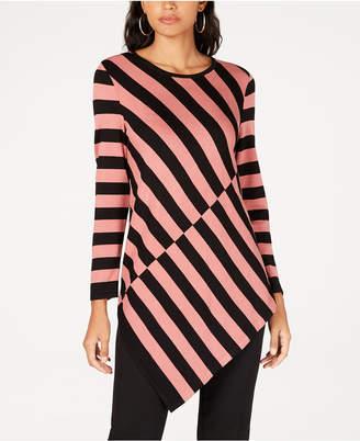 Alfani Colorblocked Asymmetrical-Hem Tunic Sweater