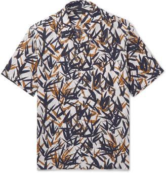 Theory Daze Camp-Collar Printed Linen Shirt