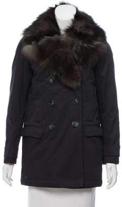The Kooples Fur-Trimmed Double-Breasted Jacket