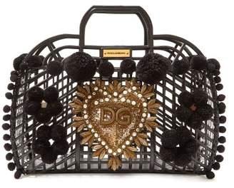Dolce & Gabbana Kendra Pompom Trim Pvc Basket Bag - Womens - Black Multi