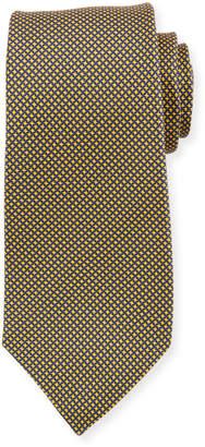 Kiton Micro Houndstooth Silk Tie, Yellow