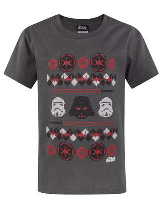 Star Wars Childrens/Boys Darth Vader Fairisle Christmas T-Shirt