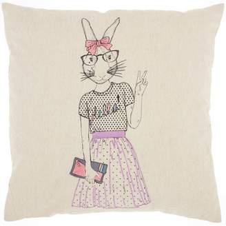 """Nourison Trendy, Hip, & New Age Cute Peace Bunny Decorative Throw Pillow, 18"""" x 18"""", Natural"""