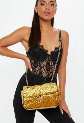 Missguided Gold Velvet Quilted Double Ring Cross Body Bag, Mustard