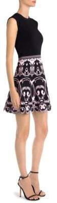 Versace Cap-Sleeve Flare Dress