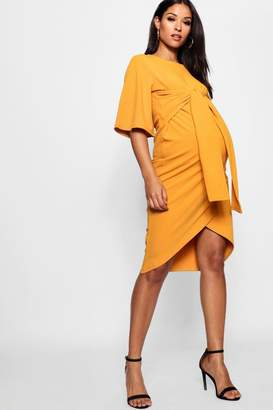 boohoo Maternity Kimono Wrap Over Midi Dress