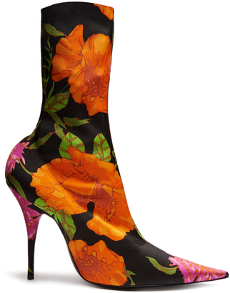 BALENCIAGA Knife point-toe floral-print ankle boots $1,015 thestylecure.com