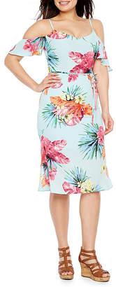 PREMIER AMOUR Premier Amour Short Sleeve Cold Shoulder Floral Sheath Dress