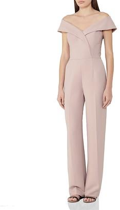 REISS Adina Off-the-Shoulder Jumpsuit $465 thestylecure.com