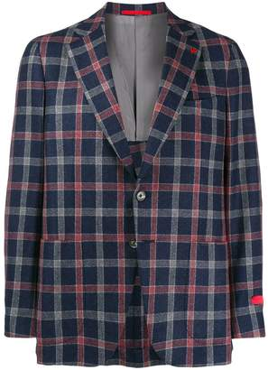 Isaia plaid fitted blazer