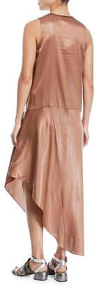 Brunello Cucinelli V-Neck Sleeveless Laminated Silk Dress with Asymmetric Hem