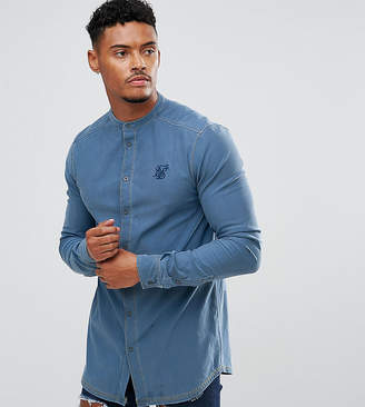 SikSilk Muscle Denim Shirt With Grandad Collar