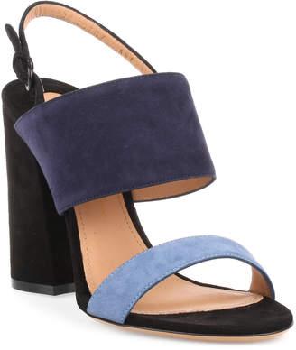 Salvatore Ferragamo Elba 100 blue suede sandal