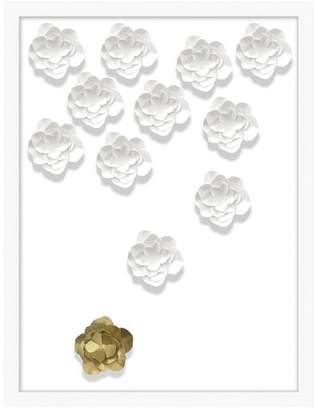 Pottery Barn Teen Folded Flower Framed Art, white/gold, 20&quotx26&quot