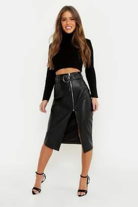 boohoo Petite Pu Belted Midi Skirt