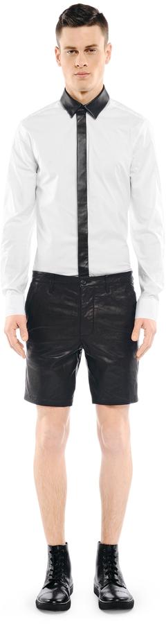Mackage Manuel Black Leather Bermuda Shorts