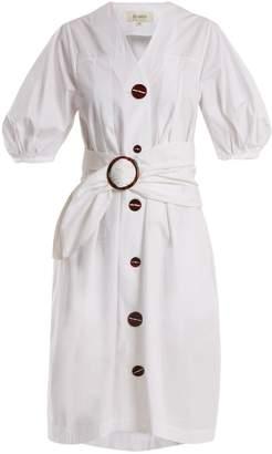 Isa Arfen Puff-sleeve waist-belt cotton dress