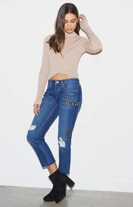 KENDALL + KYLIE Kendall & Kylie Beaded Ripped Boyfriend Jeans
