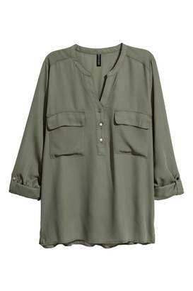 H&M V-neck Blouse - Khaki green - Women