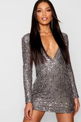 boohoo Rose Deep Plunge Sequin Bodycon Dress
