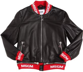 MSGM Logo Trim Leather Bomber Jacket