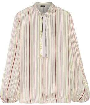 Giambattista Valli Grosgrain-Trimmed Striped Silk-Satin Blouse