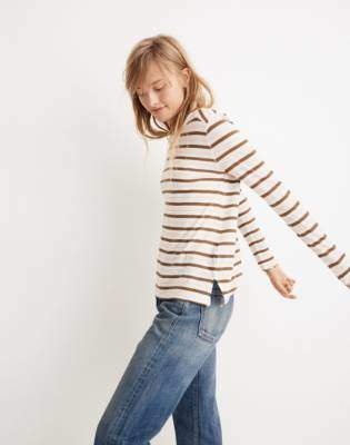 Madewell Whisper Cotton Long-Sleeve Crewneck Tee in Myers Stripe