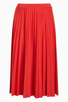 Next Womens Coral Pleated Skirt